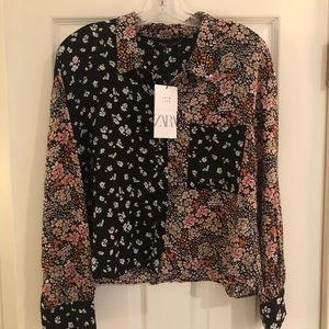 ZARA Black Floral Top NWT!! Size Large